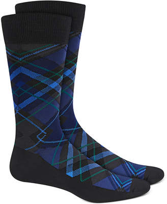 Perry Ellis Men Microfiber Plaid Socks