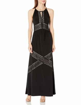 London Times Women's Sleeveless Halter Jersey Maxi Dress