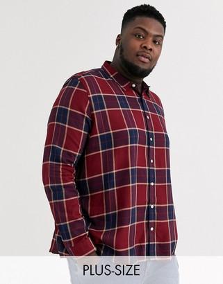 Burton Menswear Big & Tall checked shirt in burgundy