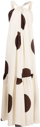 Erika Cavallini Giant Polka Dot Wrap-Halterneck Silk Dress