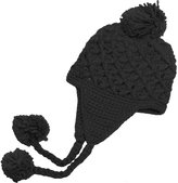 Hue Crochet Knit Ear Flap Hat with Pom Poms Color