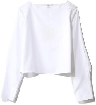 Tibi Satin Poplin Boatneck Top in White