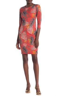 Blvd Leaf Print Bodycon Dress