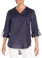 August Silk Linen Roll-Tab Shirt