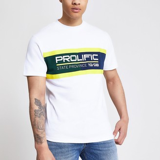 River Island Prolific white colour blocked T-shirt