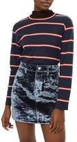 Topshop Bonded Velvet Denim Skirt