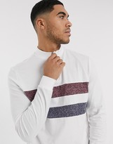 Asos Design DESIGN long sleeve t-shirt with turtle zip neck and contrast interest panels in white
