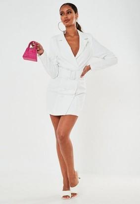 Missguided White Belted Buckle Blazer Dress