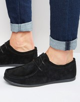 Asos Lace-Up Shoes In Black Suede With Black Sole