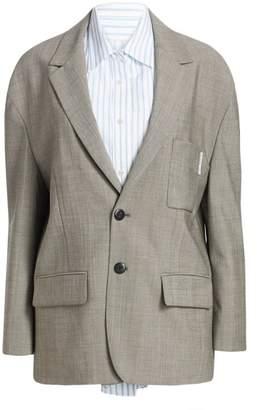 Alexander Wang Stretch Wool Blazer with Intergrated Cotton Shirt