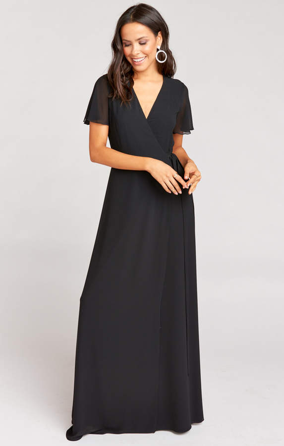 Show Me Your Mumu Noelle Flutter Sleeve Wrap Dress ~ Black Chiffon