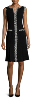 Carolina Herrera Wool Fringe Trimmed Flare Dress