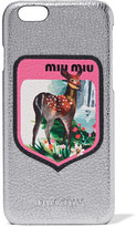 Miu Miu Printed Metallic Textured-leather Iphone 6 Case - Silver