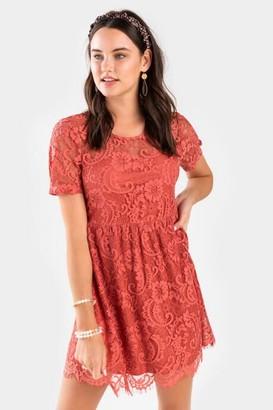 francesca's Denessa Lace Babydoll Mini Dress - Burgundy
