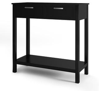 Overstock Console Sofa Table Entryway Table with 2 Drawers and Bottom Shelf