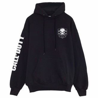 Popgear Call of Duty Skull Logo Breast Print Women's Boyfriend Fit Hoodie Black M | Gamer X-Box PS4 PS5 Switch Loose Baggy Oversized Hooded Top Birthday Gift Idea for Ladies for Home or Gym