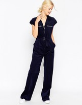 Asos Cord Wide Leg Belted Jumpsuit
