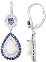 Fine Jewelry Lab-Created Opal & Sapphire Silver Leverback Earrings