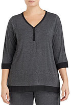 DKNY Plus Colorblocked Henley Jersey Sleep Top