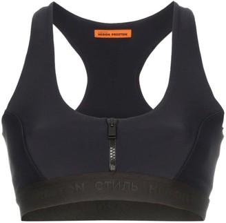 Heron Preston zip-up front sleeveless crop top