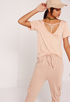 Missguided T Bar Harness Front T Shirt Nude