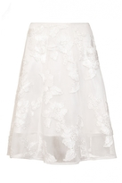 Quiz White Mesh Applique Flare Midi Skirt