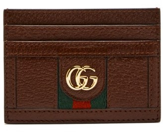 Gucci Ophidia Gg-plaque Leather Cardholder - Burgundy