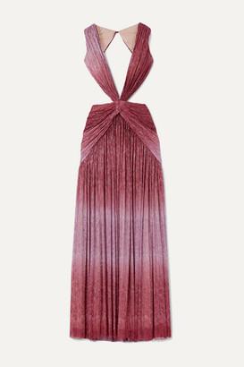 PatBO Cutout Twist-front Ombre Lurex Maxi Dress - Pink
