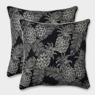 "Modern Outdoor Pillow Perfect 18.5"" 2pk Carate Batik Noche Throw Pillows Black"