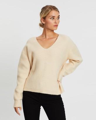 Atmos & Here Rachel Ribbed V-Neck Knit