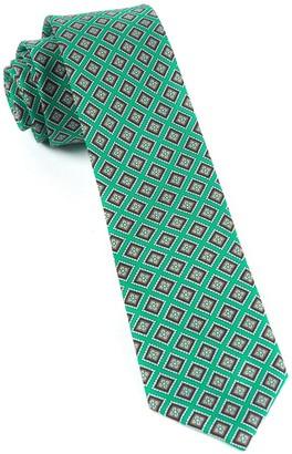 Tie Bar Silk Squarework Green Tie