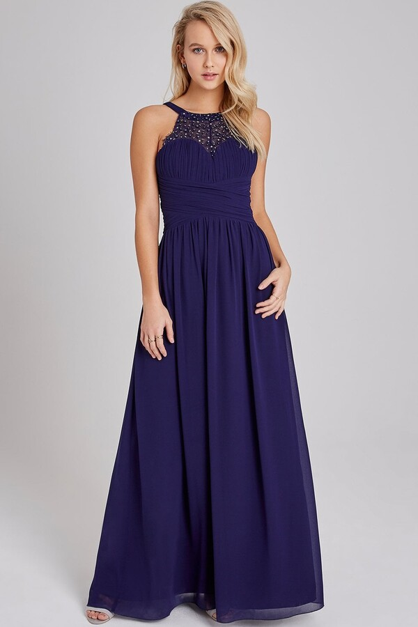Thumbnail for your product : Little Mistress Erin Navy Hand-Embellished Pearl-Trim Maxi Dress