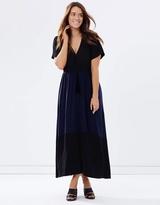 Two-Tone Wrap Knit Maxi Dress