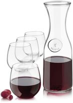 Bed Bath & Beyond Stemless Red White 5-Piece Decanter and Glass Set