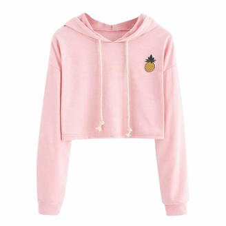 Ulanda Eu Womens Hoodies Ulanda-EU Womens Hoodies Women Long Sleeve Pineapple Appliques Sweatshirts Casual Pullover Crops Tops Hoodies for Womens Teen Girls (Gray S)