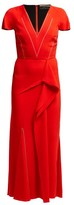 Roland Mouret Bates Draped Crepe Dress - Womens - Red Multi