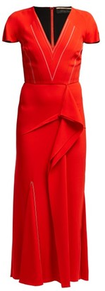 Roland Mouret Bates Draped Crepe Dress - Red Multi