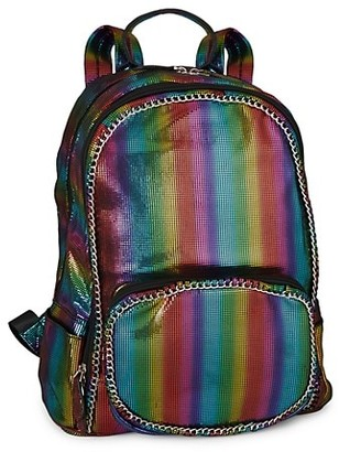 Bari Lynn Rainbow Stripe Chain Backpack