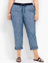Talbots Womans Chambray Button-Tab Roll Cuff Pant