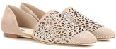 Jimmy Choo Globe Flat perforated crystal-embellished suede ballerinas