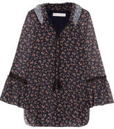 See by Chloe Ruffled Lace-trimmed Floral-print Georgette Blouse - Navy