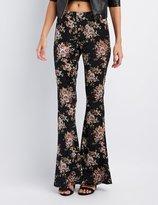 Charlotte Russe Floral Velvet Flare Pants