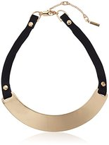 "Kenneth Cole New York Flat Mate"" Sculptural Collar Leather Necklace"