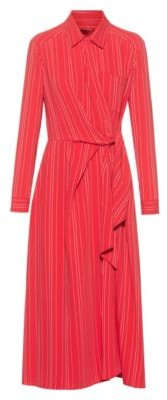 HUGO BOSS Striped Shirt Dress With Wrap Effect Front - Red