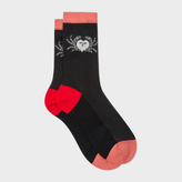 Paul Smith Women's Black 'Crab' Motif Semi-Sheer Socks