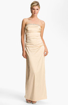 Suzi Chin for Maggy Boutique Ruched Strapless Satin Gown