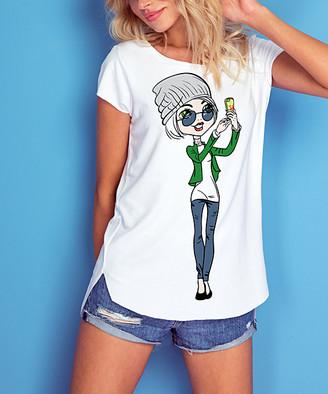 Knitis knitis Women's Tee Shirts White - White & Green Girl Side-Hit Scoop Neck Hi-Low Tee - Women