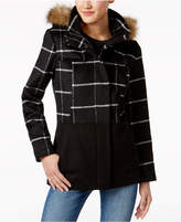 Celebrity Pink Juniors' Mixed-Media Checked Coat