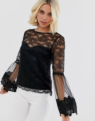 Little Mistress lace top with statement sleeve in black