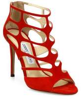 Jimmy Choo Ren 100 Suede Cutout Peep Toe Sandals